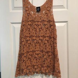 Burnt orange/tan lace top